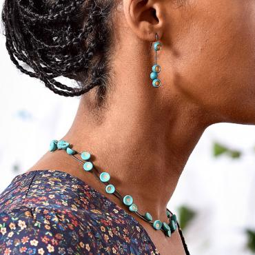 Pendant earrings Sénécio turquoise