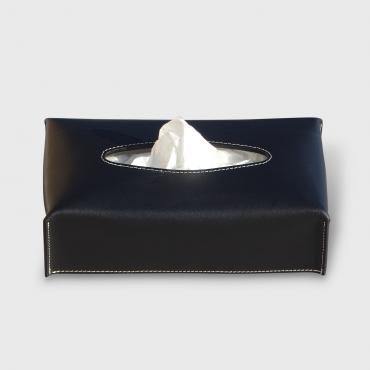 Tissue box black leather