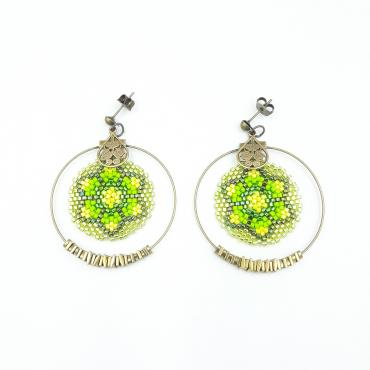 Boucles d'oreilles Collection Lotus vert