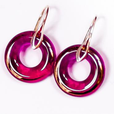 Earrings Wedding ring dark pink