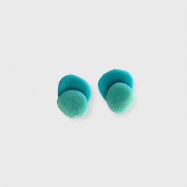 Clip on earrings RICOCHET blue green