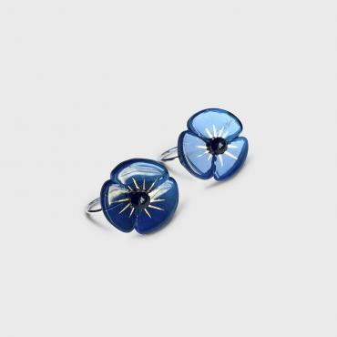 Earrings COQUELICOT bleu acier