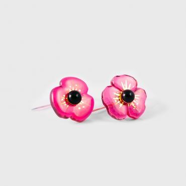 Earrings COQUELICOT rose profond