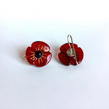 Earrings COQUELICOT bright red