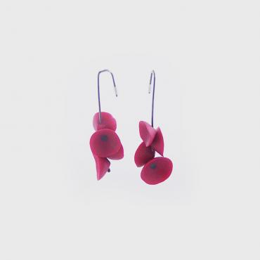 Earrings Coquelicots raspberry pink and black