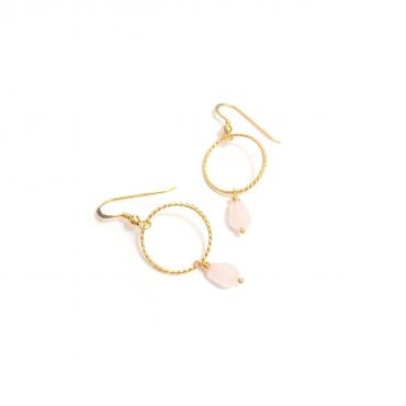 Hoop Earrings - Pink Quartz