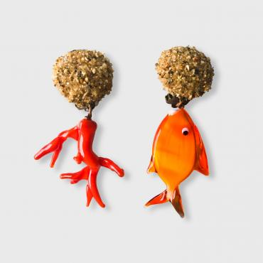 Earrings Hoedic clip corail et poisson