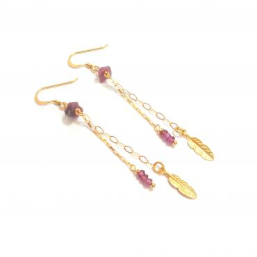 Earrings Plumes - Rhodolite