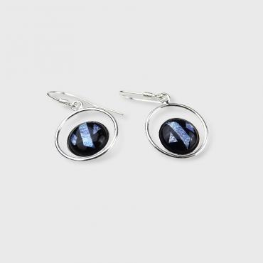 Earrings Feuille d'Argent Black and Blue