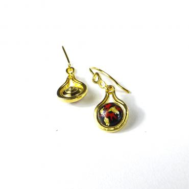 Earrings Feuille d'Or sur Plaqué Or Yellow, Black and Gold