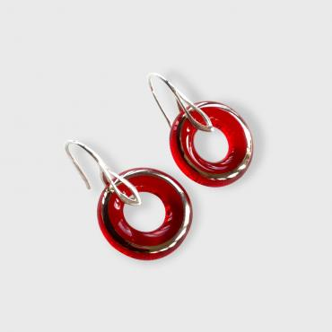 Earrings Wedding ring bright red