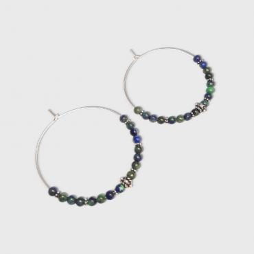 Hoop earrings Marajó Azurite Malachite