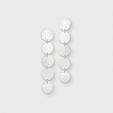 Earrings Pastilles DOTS-Pastilles in ethical silver, beaten / polished