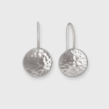Earrings dormeuses DOTS in ethical silver, beaten / polished
