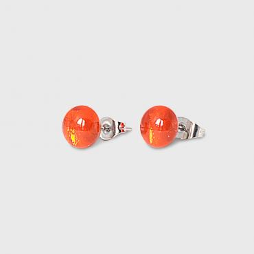 Clous d'oreilles orange en verre brillant