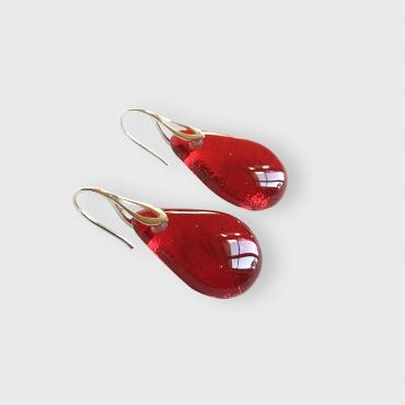 Earrings Gouttes rouge vif