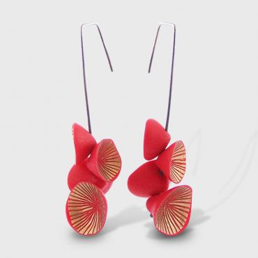 Earrings Nénuphar red and gold