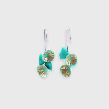 Earrings Nénuphar turquoise et or