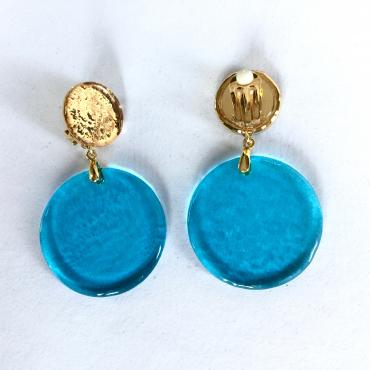 Earrings POP turquoise-gold