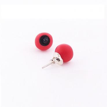 Earrings Senecio small red and black