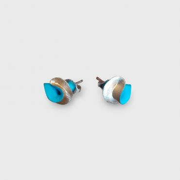 Boucles d'oreilles Synergie turquoise et or