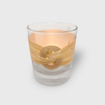 Candle holder vannerie de rotin