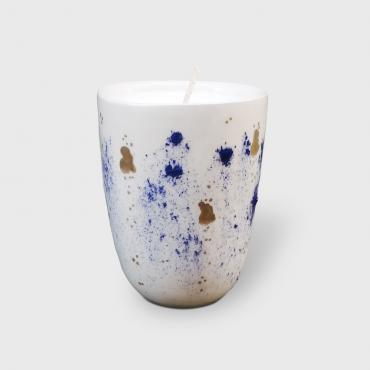 Scented candle bleue et or