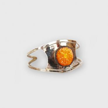 Bracelet in color of fire enamelled lava