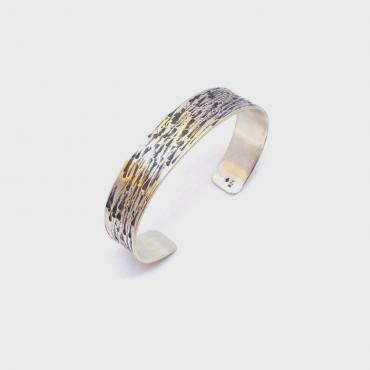 Bangle bracelet Ethnic, Beaten Solid Silver