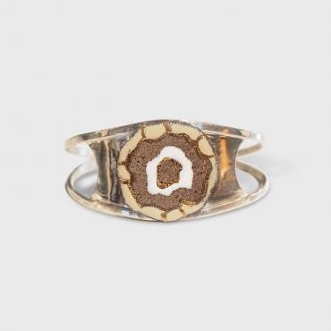 Bracelet beige and gold island in enamelled lava
