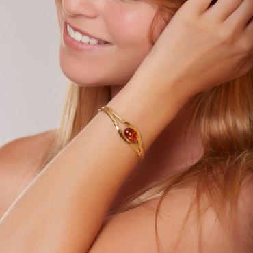 Bracelet gold-plated with amber