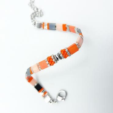 Bracelet Sunny Fun coral and silver