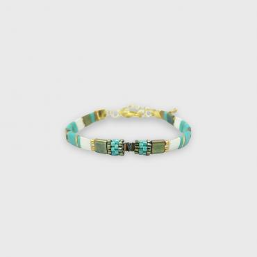 Bracelet collection Sunny Fun vert turquoise et or