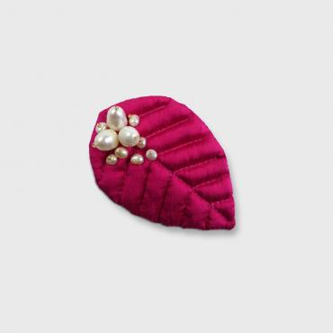 Broche 1 Feuille NATURELLEMENT ROSE 1