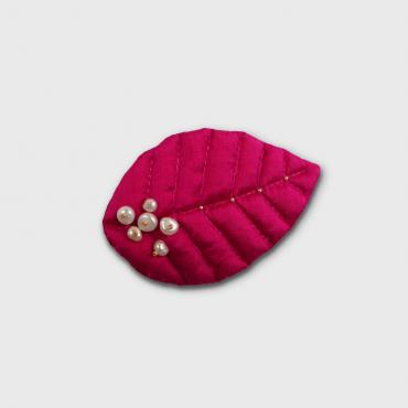 Broche 1 feuille NATURELLEMENT ROSE 2