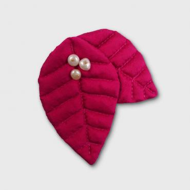 Broche 2 Feuilles NATURELLEMENT ROSE