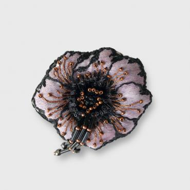 Brooch Anémone Black and bronze