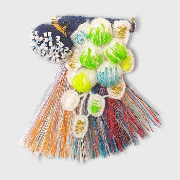 Embroidered brooch navy blue