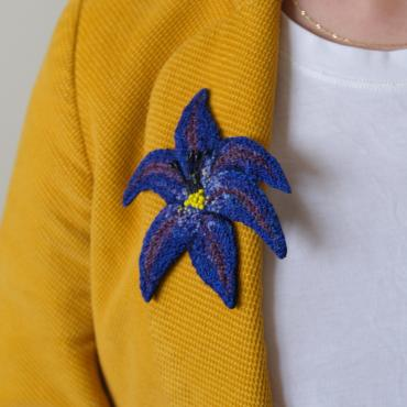Broche Fleur Bleue (L) - collection Blue mood