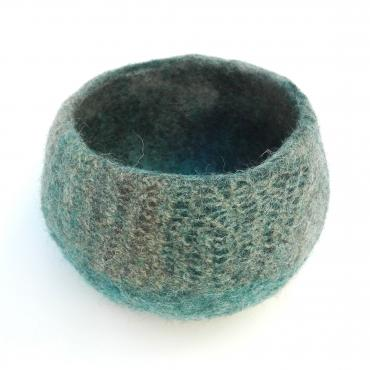 Pot Mesh&felt small Blue/brown