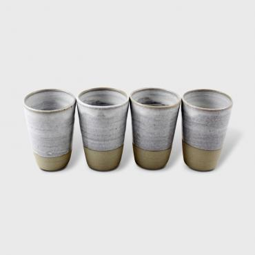 Set of 4 water/coffee cup white and raw clay