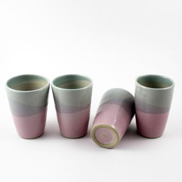 Set of 4 water/coffee cup celadon and pink