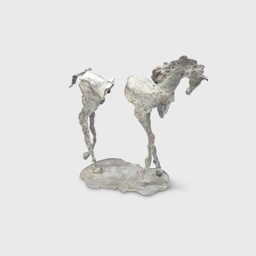 Sculpture Cheval bronze blanc