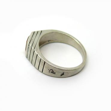 Engraved Signet ring, silver and Citrine