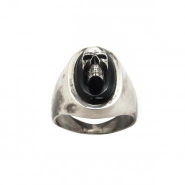 Signet ring in silver tête de mort small