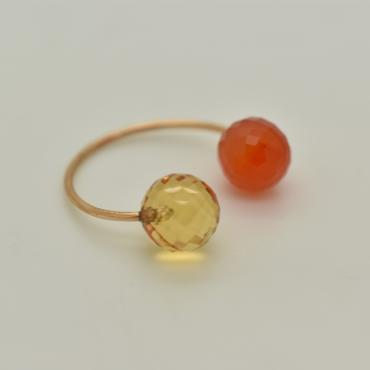 Ring Toi&Moi citrine and cornelian