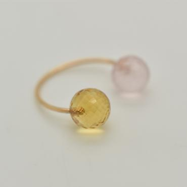 Ring Toi&Moi pink quartz and citrine