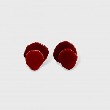 Clip on earrings RICOCHET rouge et grenat