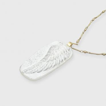 Necklace white wing pendant