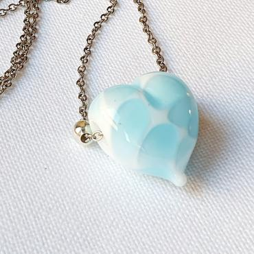 Necklace Coeur Blanc et bleu transparent